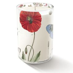 Fringe Studio Poppy Candle - Transferware art glass. Cute candle for the kitchen. Gift-boxed.