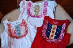 Bless Our Nest: Ruffle Bib Tank Tutorial Sweet way to embellish a tee or tank. Would be cute with a matching twirly skirt. Has a clever way to make a pattern with wax paper