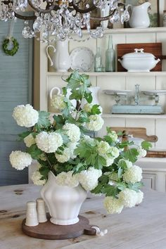 French Country Farmhouse | can't resist the hydrangeas and white pottery