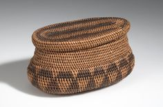BASKET/LID AFRICAN ETHNOGRAPHIC COLLECTION Catalog No: 90.0/ 714 AB Field No: 434 Culture: LOZI? (BAROTSE?) Locale: BAROTSELAND, LEALUI Country: ZAMBIA? Material: PLANT FIBER, WOOD, DYE Dimensions: A) L:16.3 W:10 H:7.8 B) L:14.8 W:7.6 H:1.4 [in CM] Acquisition Year: 1907 [PURCHASE] Donor: DOUGLAS, RICHARD