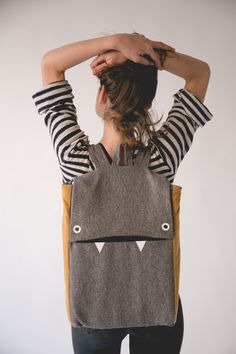 Gray and mustard monster laptop backpack – a unique product by marinsss on DaWanda. Via en.DaWanda.com.