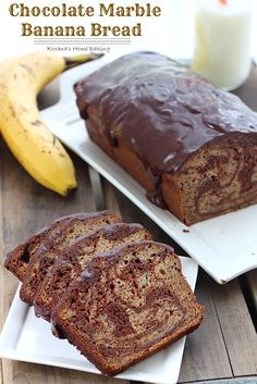 Chocolate banana bread – Rich semi-sweet chocolate swirled into a moist and delicious banana bread with a touch of cinnamon to bring out all the wonderful flavors.