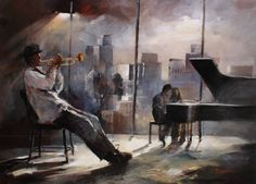 Geschilderd doek met trompetist en pianist