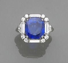 A natural Burmese sapphire, diamond and platinum ring, Oscar Heyman