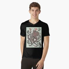 Royal Octopus Treasure Brown by kenallouis | Redbubble Creative T Shirt Design, Creative Shirts, Tee Design, Cool T Shirts, Tee Shirts, Cool Graphic Tees, White T, Custom Tees, Octopus Artwork