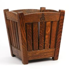 Roy croft slatted wastebasket - orb cross mark, h. 13 w. 12 d. 12 in. Diy Wooden Projects, Wood Shop Projects, Small Woodworking Projects, Handmade Wood Furniture, Arts And Crafts Furniture, Furniture Projects, Furniture Removal, Craftsman Style Furniture, Mission Style Furniture