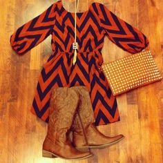 Chevron dress with boots...I really like this!  I'm not sure where I would wear it...but I like it! I have this dress but will wear it with black cowboy boots instead!