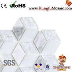 This Rhombus Stone Mosaic Glass Tiles in a special shape. There with white marble and glass as strip too. Stone Mosaic Tile, Marble Mosaic, Mosaic Glass, Travertine, White Marble, Decorative Boxes, Shapes, Decorative Storage Boxes