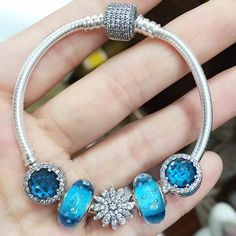 Best Valentine's Gift Zircon Snowflake Real 925 Silver Snake Chain Bracelet with Blue Crystals Blue Zircon Beads Charms Bracelet