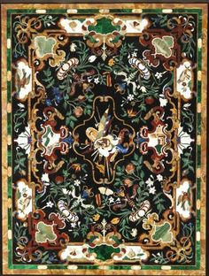 Pietra Dura Table Top bearing thecoat of arms of Prince Karl Eusebius von Liechtenstein. XIXth century - Materials: Marble, pearl inlays, hard stones such as malachite, lapis lazuli, onyx, agate and jasper - Dim: H. 124 cm, L: 100 cm.