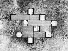 Estimulante planta formada a partir de nueve estructuras huecas sobre las que deslizan los diferentes espacios domésticos en la Casa en el Bosque (1971, Zalesie Dolne) para el propio arquitecto pol…