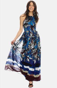 Donna Morgan Floral Print Chiffon Fit & Flare Maxi Dress available at #Nordstrom