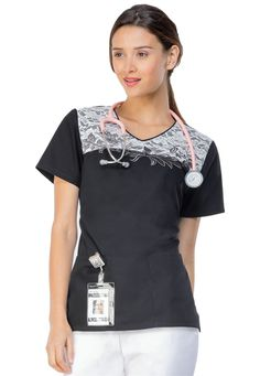 Cherokee Runway lace embroidery v-neck scrub top #scrubsandbeyond #scrubs #lace