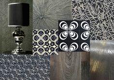 Tendance Graphique noir&blanc  Revêtements muraux CORIOLIS : Collection à retrouver dans notre showroom.  Liens vers les fiches produits :  Carreaux de ciment : Papillon  Alliance  Parquet en chêne vieilli TRIAS  Parquet métallisé BRONZE  Tapis sur mesure : Reseau  Flume