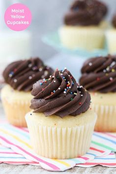 This Yellow Cupcake Recipe from scratch is a better-than-cake-mix yellow cake. It's a classic birthday cupcake. This recipe can be used to make a yellow cake or yellow cupcakes with a chocolate fudge frosting. Cake Mix Cupcakes, Yellow Cupcakes, Cupcake Mix, Cupcake Cakes, Cupcake Ideas, Cup Cakes, Homemade Cupcake Recipes, Cake Mix Recipes, Frosting Recipes