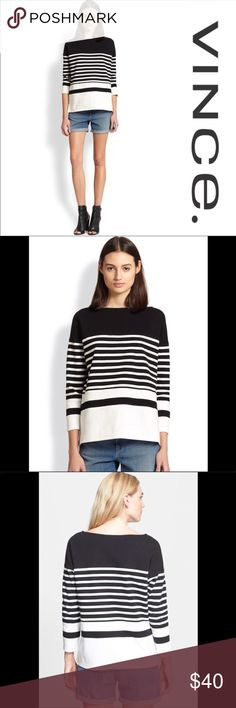 Vince Nautical Stripe Boatneck Top - Small Clean nautical stripes wrap the sleeves and body of a monochromatic color-blocked top. - 98% cotton, 2% spandex - Dry clean  Excellent preowned condition.  Offers welcomed!  P11 Vince Tops