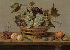 Jacob van Hulsdonck (Antwerp 1582 – 1647), Peaches and grapes in a basket on a table. Signed lower right: IVHVLSDONCK.FE. (IVH in ligature). Oil on panel: 17 ¼ x 23 ½ in / 43.8 x 59.7 cm. Frame size: 24 ½ x 31 in / 62.2 x 78.7 cm. Painted in the late 1630s or 1640s. Galerie Richard Green. Biennale des Antiquaires 2014.