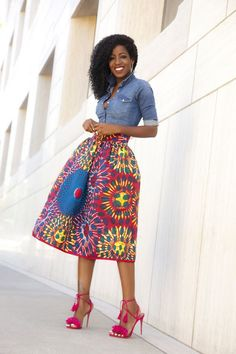 Fitted Denim Shirt Printed Midi Skirt -Outfit Details: Shirt: Similar here, here or here African Inspired Fashion, African Print Fashion, Fashion Prints, African Prints, Look Fashion, Skirt Fashion, Womens Fashion, Street Fashion, African Attire
