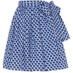 Miu Miu Printed Cotton Skirt (2,830 ILS) ❤ liked on Polyvore featuring skirts, blue, bottoms, miu miu, blue skirt, blue cotton skirt, cotton knee length skirt and cotton skirts