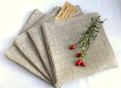 Natural Grey Linen Napkin Serviette Placemat Set of by ZumZumLinen
