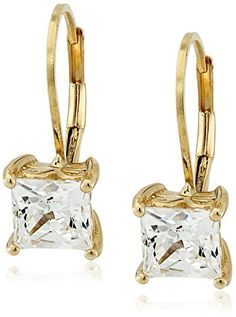 Platinum or Gold Plated Sterling Silver Swarovski Zirconia Princess-Cut Leverback Earrings ** Click here for more details @ http://www.amazon.com/gp/product/B00OZBP4PQ/?tag=ilikeboutique09-20&vw=150816062331