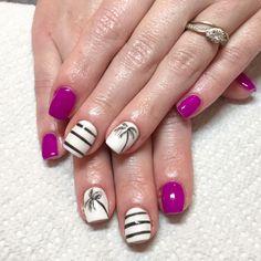Purple nails. Neon nails. White nails. Palm tree nails. Stripe nails. Gel nails. Summer nails. Beach nails. California nails. Ocean nails. Square nails.