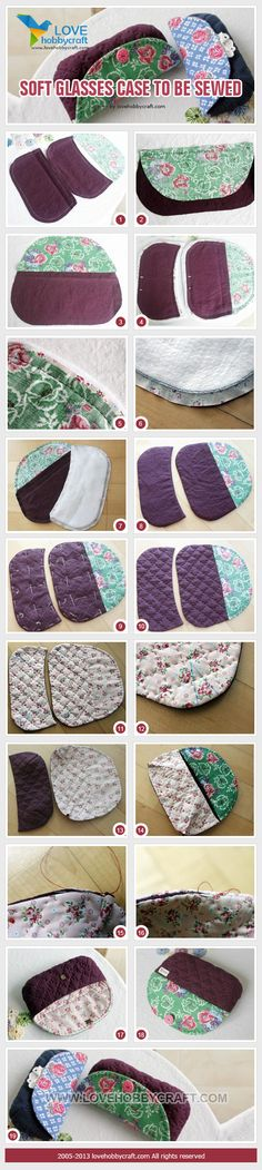 could easily be done as a wallet too Diy Glasses, Glasses Case, Fabric Crafts, Sewing Crafts, Sewing Projects, Patchwork Bags, Quilted Bag, Sewing Tutorials, Sewing Patterns