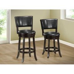 specialties black leather look cushioned swivel barstool 24 inch set