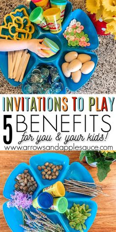 You'll love the benefits (for you and your kids) of creating an invitation to play. I love watching my kids be creative and sharpen imortant life skills. Preschool At Home, Preschool Curriculum, Preschool Learning, Educational Activities, Preschool Activities, Homeschooling, Kindergarten Inquiry, Shape Activities, Motor Activities