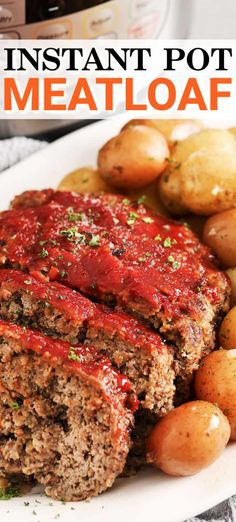 Mar 2020 - This easy Instant Pot meatloaf recipe is ready in under an hour and turns out perfectly juicy and tender. Cooked with potatoes it's a one-pot meal perfect for dinner! Homemade Meatloaf, Good Meatloaf Recipe, Meat Loaf Recipe Easy, Meatloaf Recipes, Beef Recipes, Cooking Recipes, Amish Recipes, Instant Pot Pasta Recipe, Fast Recipes