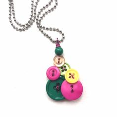 Pink, Green, and Yellow Vintage Buttons Pendant by buttonsoupjewelry on Etsy