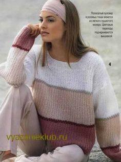 Пуловер из мохера спицами для женщин
