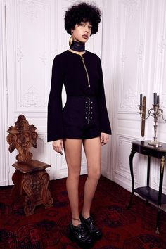 Ellery | Pre-Fall 2016 | 13 Black long sleeve top and shorts