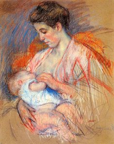 Mother Jeanne Nursing Her Baby, 1908, Mary Cassatt  Medium: pastel, chalk on paper