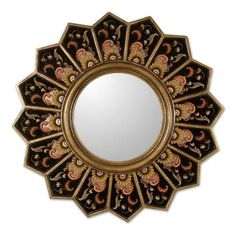Reverse Painted Glass Wall Mirror Handmade 'Sunflower Fan' NOVICA Peru  #NOVICA #ArtsCraftsMissionStyle Size Frame:  18.5 inches H x 18.5 inches W x 1.2 inches D  Mirror:  7.8 inches W x 7.8 inches H