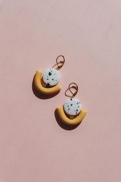 Modern polymer clay stud / drop earrings for minimalist.