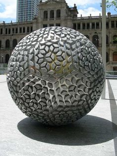 The 15 Spheres of Steam is sculpture design was designed by Donna Marcus. This is public art sculpture in Brisbane, Australia. The shape has similarity pattern like a soccer ball, other than round ...