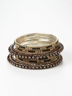 Gold & Black Multicolor Bangles