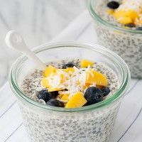 Chia Seed Pudding with Mango and Blueberry by Baked Bree