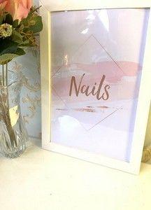 Ateliê Laço Rosa Nail Salon Design, Manicure Diy, Nails Rose, Decoration, Place Card Holders, Frame, Studio, White Frames, Work Nails