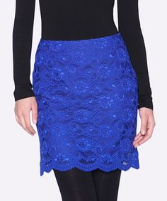 Another great find on #zulily! Royal Blue Lace Scallop-Hem Skirt by Elfe #zulilyfinds