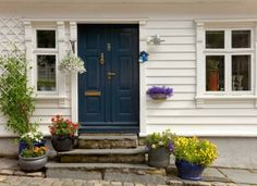 Picture of Traditional wooden houses in Stavanger, Norway. stock photo, images and stock photography. Macrame Plant Hangers, Hanging Planters, Outdoor Gardens, Sweet Home, Yard, Windows, Traditional, Outdoor Decor, Wooden Houses