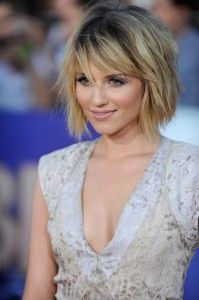 dianna agron's choppy bob and long side bangs