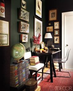 The walls of this Harlem brownstone are painted in Benjamin Moore's Soot.