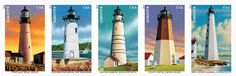 New England Coastal Lighthouses with five new stamps featuring detailed illustrations of the Boston Harbor, Portland Head, New London Harbor, Point Judith, and Portsmouth Harbor lights. New England Lighthouses, Maine Lighthouses, Price Of Stamps, Costa, Historic New England, Cape Elizabeth, Harbor Lights, United States Postal Service, New England