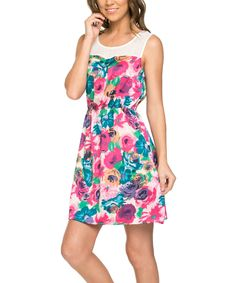 Fuchsia Floral Contrast Tank Dress by Mittoshop #zulily