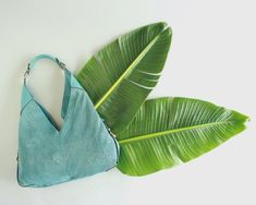 Ferragamo Turquoise Leather Mesh Bag Hobo Bag, Salvatore Ferragamo, Pouch, Mesh, Turquoise, Shoulder Bag, Dry Goods, Bags, Stuff To Buy