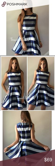 """Twilight Stripe Fit and Flare Dress Glamorous fit and flare, navy, silver and white striped dress. Goes in at the waist and accentuates the body to make it look fabulous. Fully lined dress with tulle lining in the skirt.           Small Bust 34"""" Length 32""""  Medium  Bust 36"""" length 32"""" Dresses"""