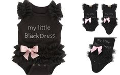 TODDLER BABY GIRL MY LITTLE BLACK DRESS VEST TOP BODYSUIT ROMPER LACE TUTU BOW  | eBay