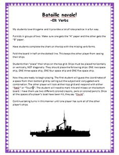 Play just like you did when you were a kid and practice -ER verb conjugation at the same time. This provides a lot of rote practice - but my kids love it! Students complete the missing verbs forms on their chart and then follow the rules for traditional Battleship.